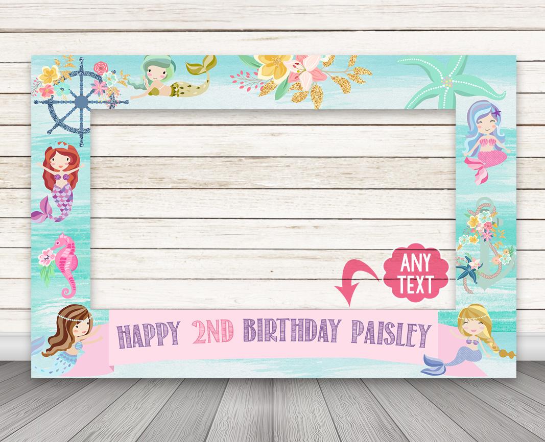 Printable Mermaid Birthday Party Photo Booth Frame Happy