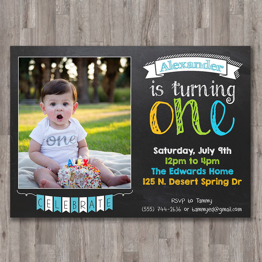 1st Birthday Invitation PRINTABLE Chalkboard First Birthday Invitation with Picture Girls Boys Birthday Party 4x6 or 5x7