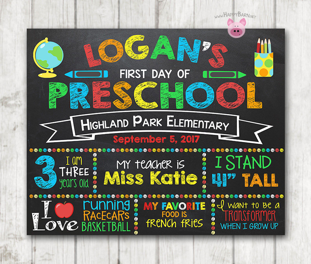 graphic regarding First Day of Preschool Sign Printable identify Boy Printable Initially Working day of College or university Signal To start with Working day of Preschool Chalkboard Indication