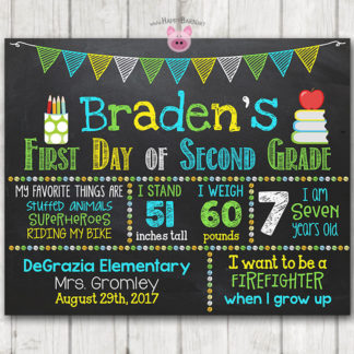 graphic relating to First Day of Preschool Sign Printable known as Boy Printable To start with Working day of University Signal Initial Working day of Preschool Chalkboard Signal