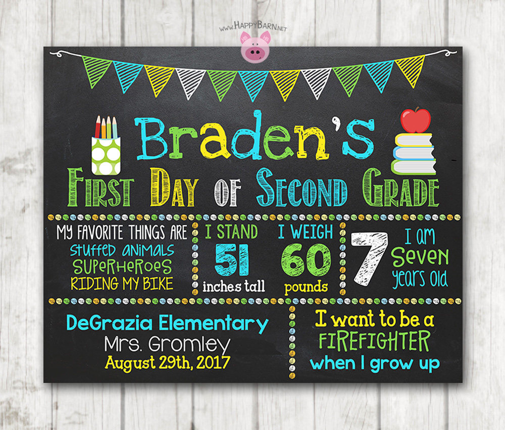 photo relating to First Day of School Sign Printable titled Boy Printable Very first Working day of College or university Signal Initial Working day of Preschool Chalkboard Indication