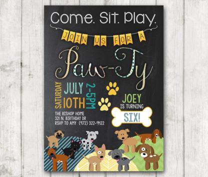 Boy Puppy Birthday Invitations Printable Dog Custom Personalized Bday Invite Chalkboard Party Doggie Paw Ty