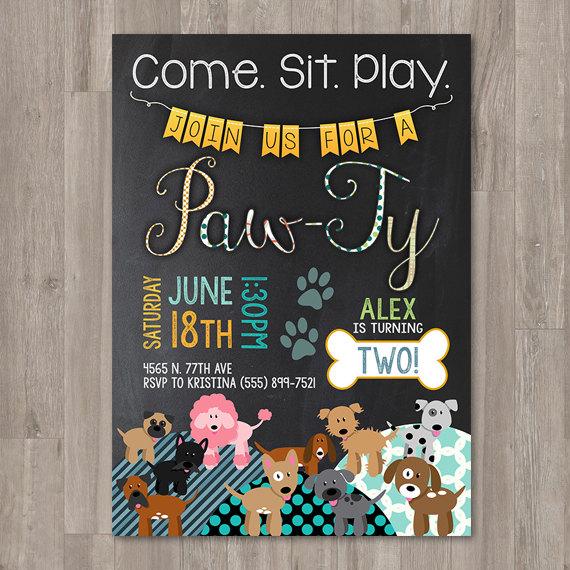 Boy Puppy Birthday Invitations Printable Dog Custom Personalized Bday Invite Chalkboard Party Doggie
