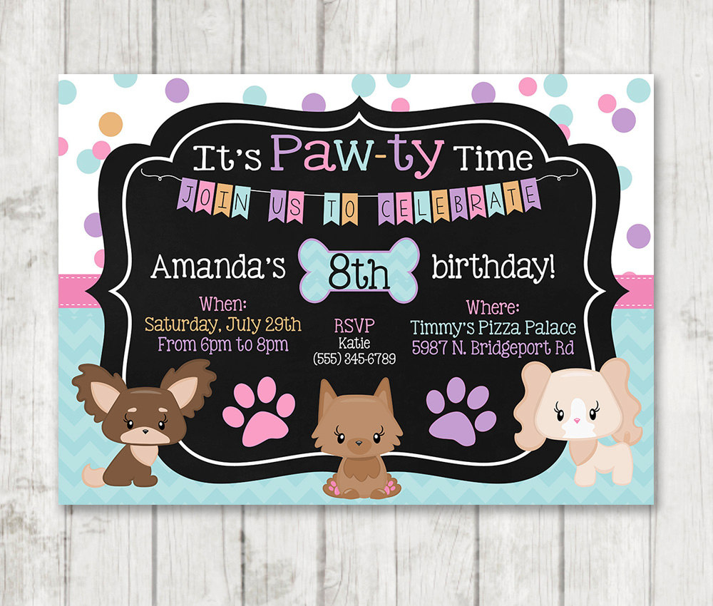 Girl Puppy Birthday Invitations Printable Dog Custom Personalized Bday Invite Chalk Girly Party Doggie