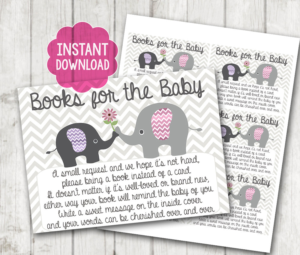 Printable Bring A Book Instead Of Card Baby Shower Inserts