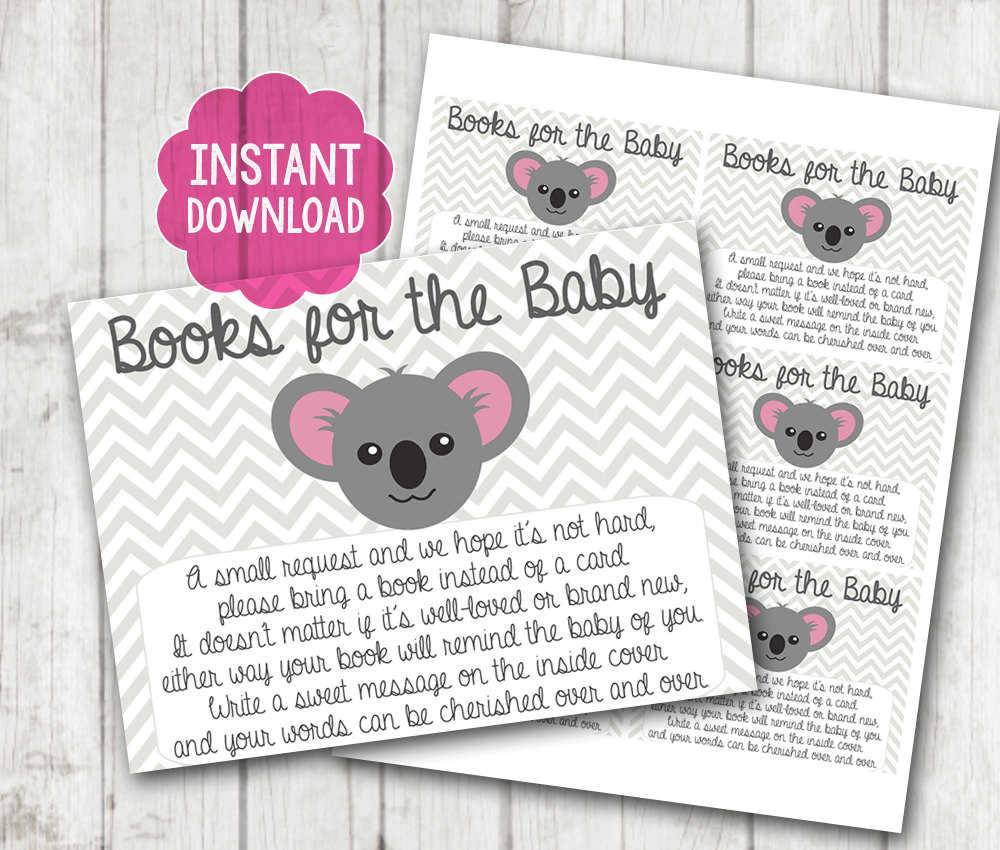 picture relating to Bring a Book Instead of a Card Printable identified as Printable \u201cBring a Reserve As a substitute of a Card\u201d Youngster Shower Inserts Female or Boy Koala