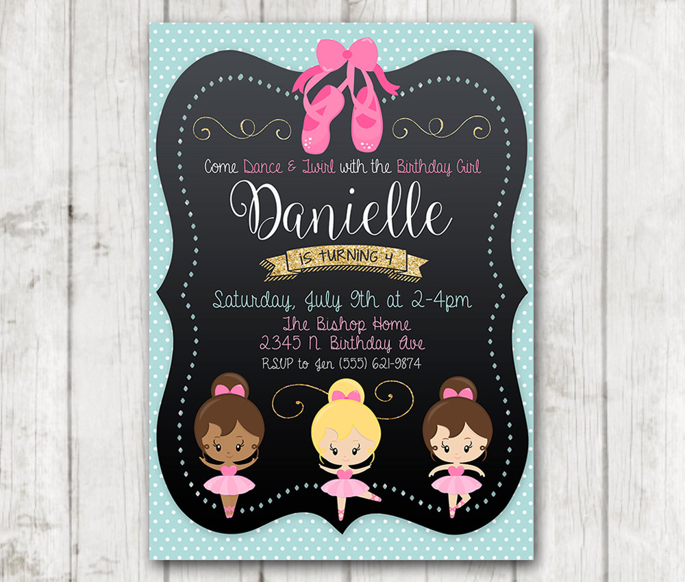 Printable Ballerina Birthday Party Invitation Ballerina Invitations
