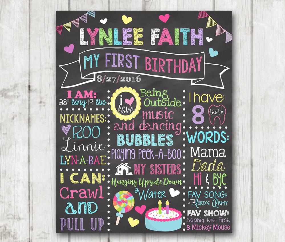 First Birthday Chalkboard Sign  Printable Chalkboard Sign Little Garden Birthday Chalkboard Size 16x20 inches SKU CBI14
