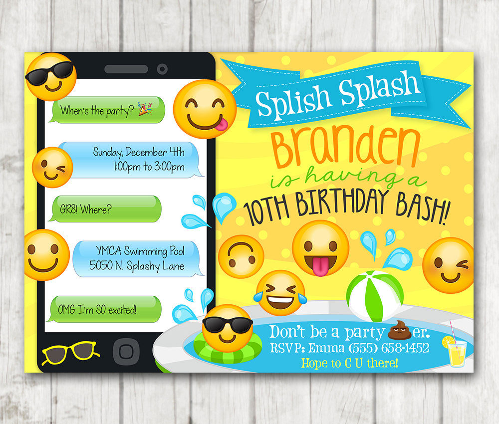 Printable Boy Emoji Pool Party Invitation Swim