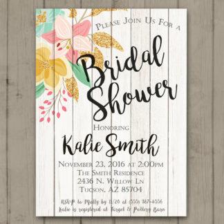 printable bridal shower invitation wood floral bride to be glitter bridal shower invite