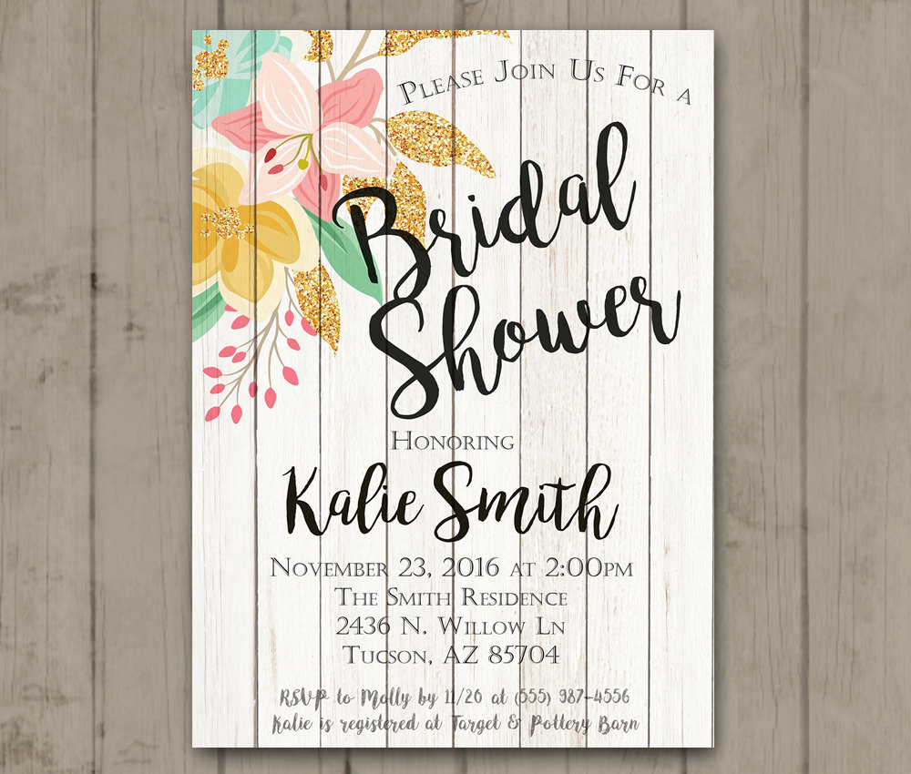 photo relating to Printable Bridal Shower Invites identified as Printable Bridal Shower Invitation - Picket Floral Bride-Towards-Be Glitter Bridal Shower Invite