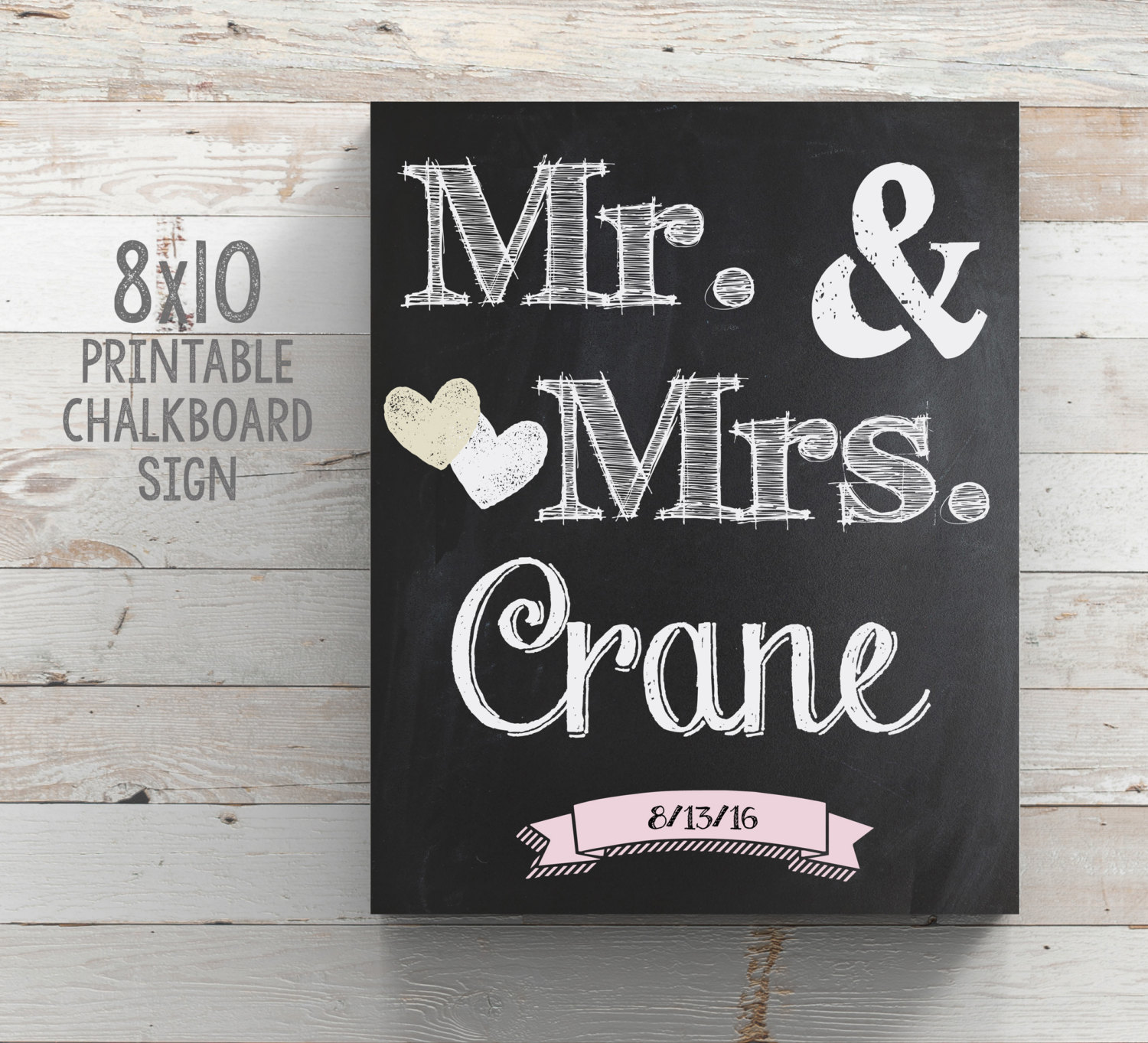 graphic relating to Printable Chalkboard Signs identified as Printable Marriage Mr and Mrs Chalkboard Indicator