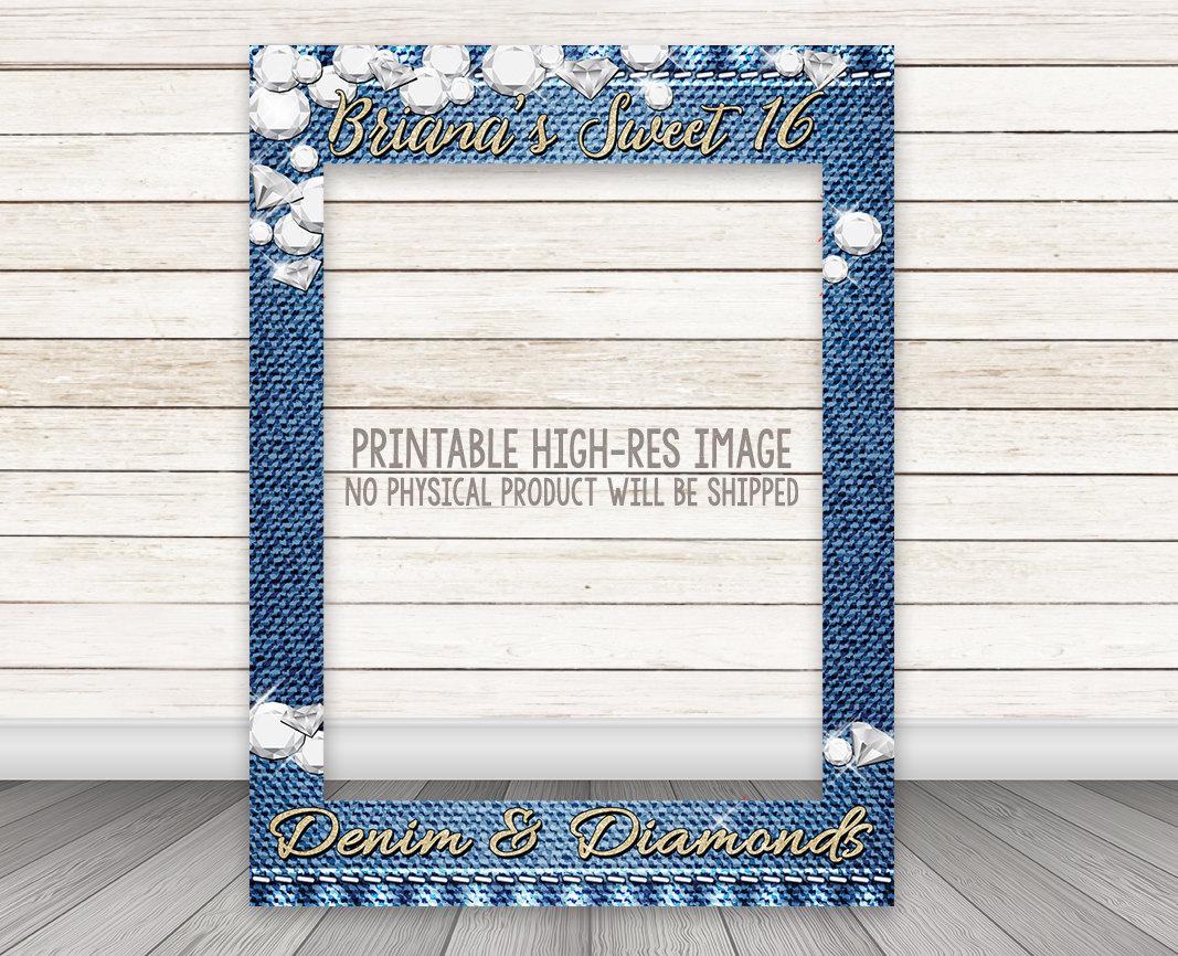 Printable Denim Diamonds Party Photo Booth Frame Happy Barn