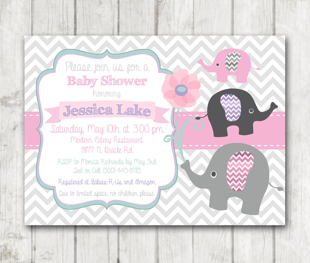 Printable elephant girl baby shower invitation chevron pink sage printable elephant girl baby shower invitation flowers floral chevon pink sage mint green white purple grey filmwisefo