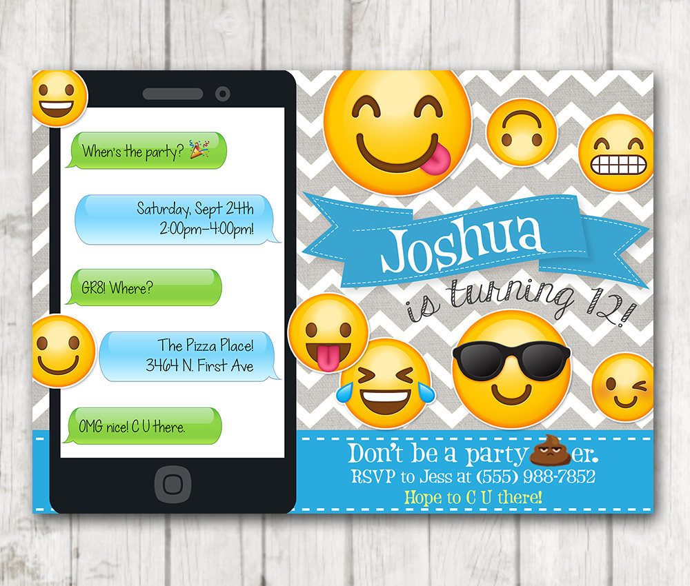 image about Printable Emoji Birthday Invitations referred to as Printable Emoji Birthday Bash Invitation, Boy Emoji invites