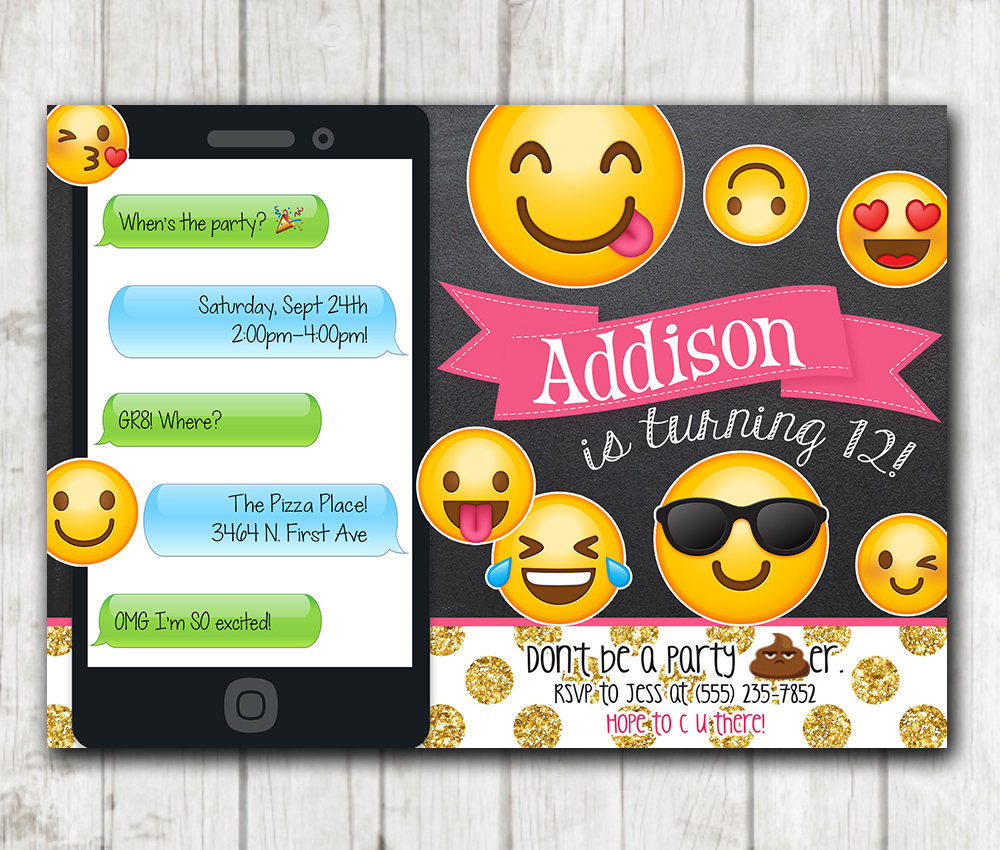picture relating to Printable Emoji Invitations named Printable Emoji Birthday Occasion Invitation - Chalkboard Emoji invites