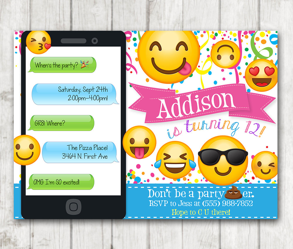 photograph about Printable Emoji Invitations identified as Printable Emoji Birthday Social gathering Invites