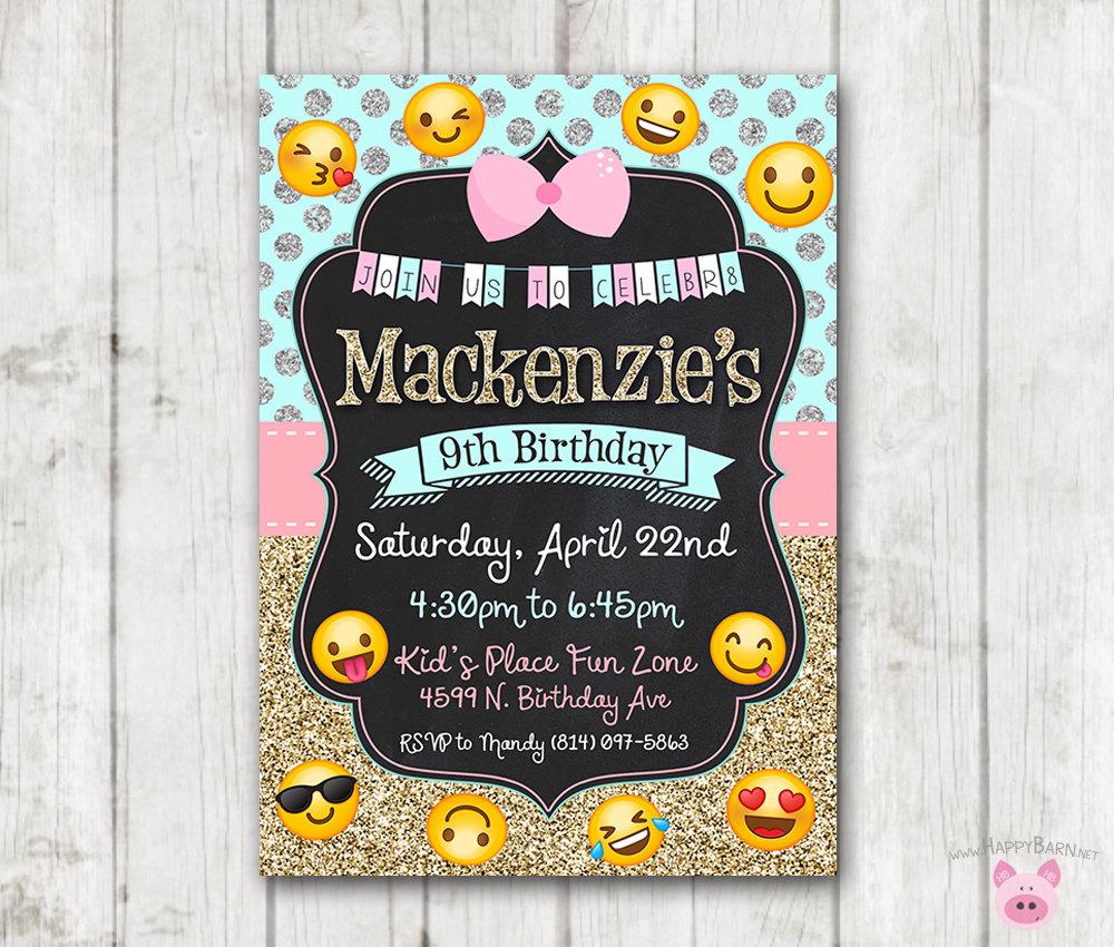 Printable Emoji Birthday Party Invitation Invitations