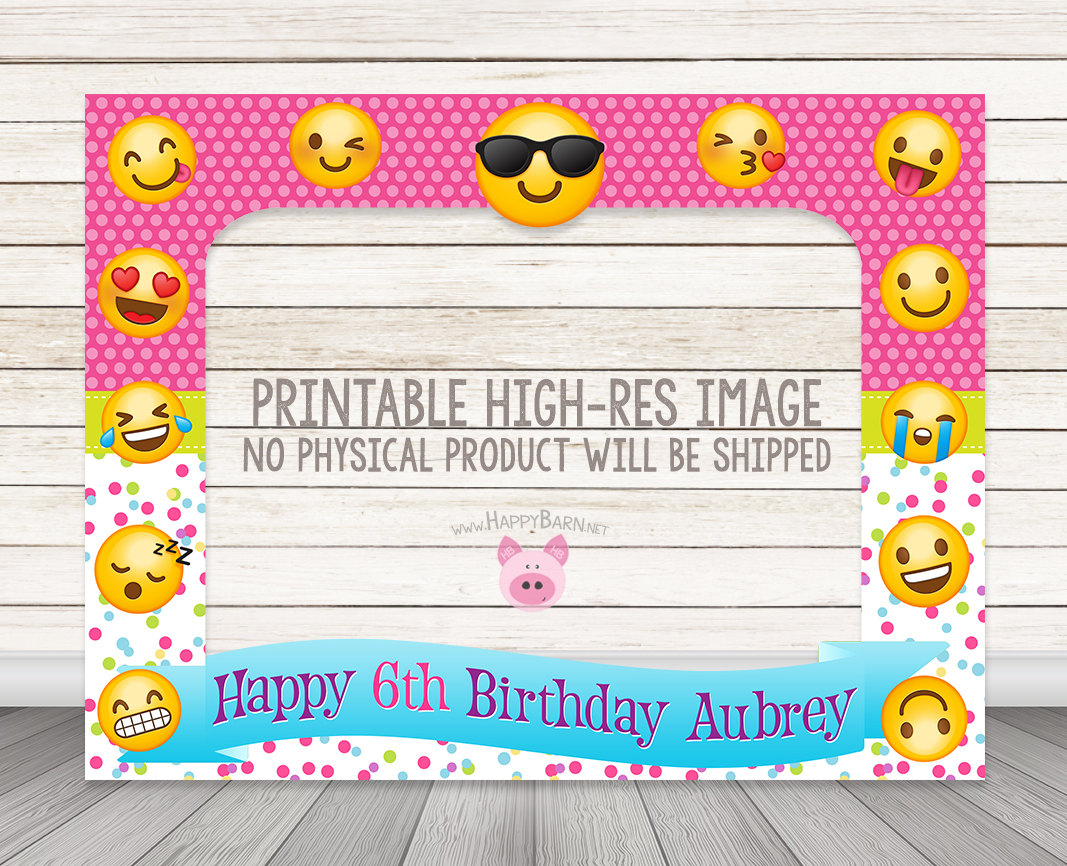 Printable Emoji Birthday Party Photo Booth Frame Prop Happy Barn