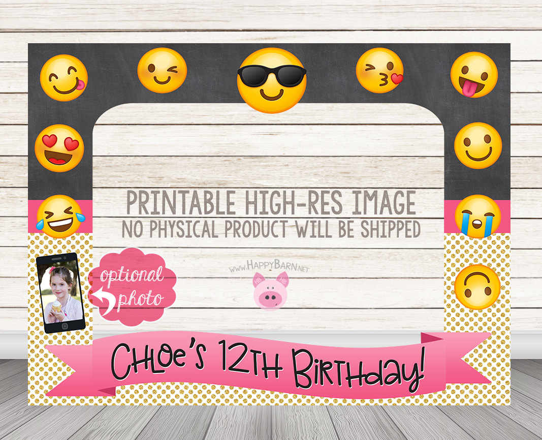 PRINTABLE Glitter Chalkboard Emoji Photo Booth Frame – Happy Barn