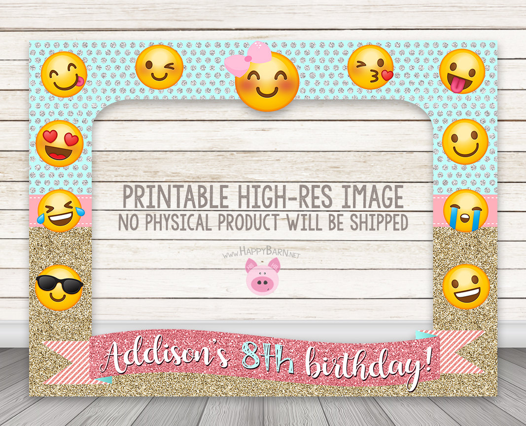 PRINTABLE Emoji birthday party photo booth frame - Glitter Emoji ...