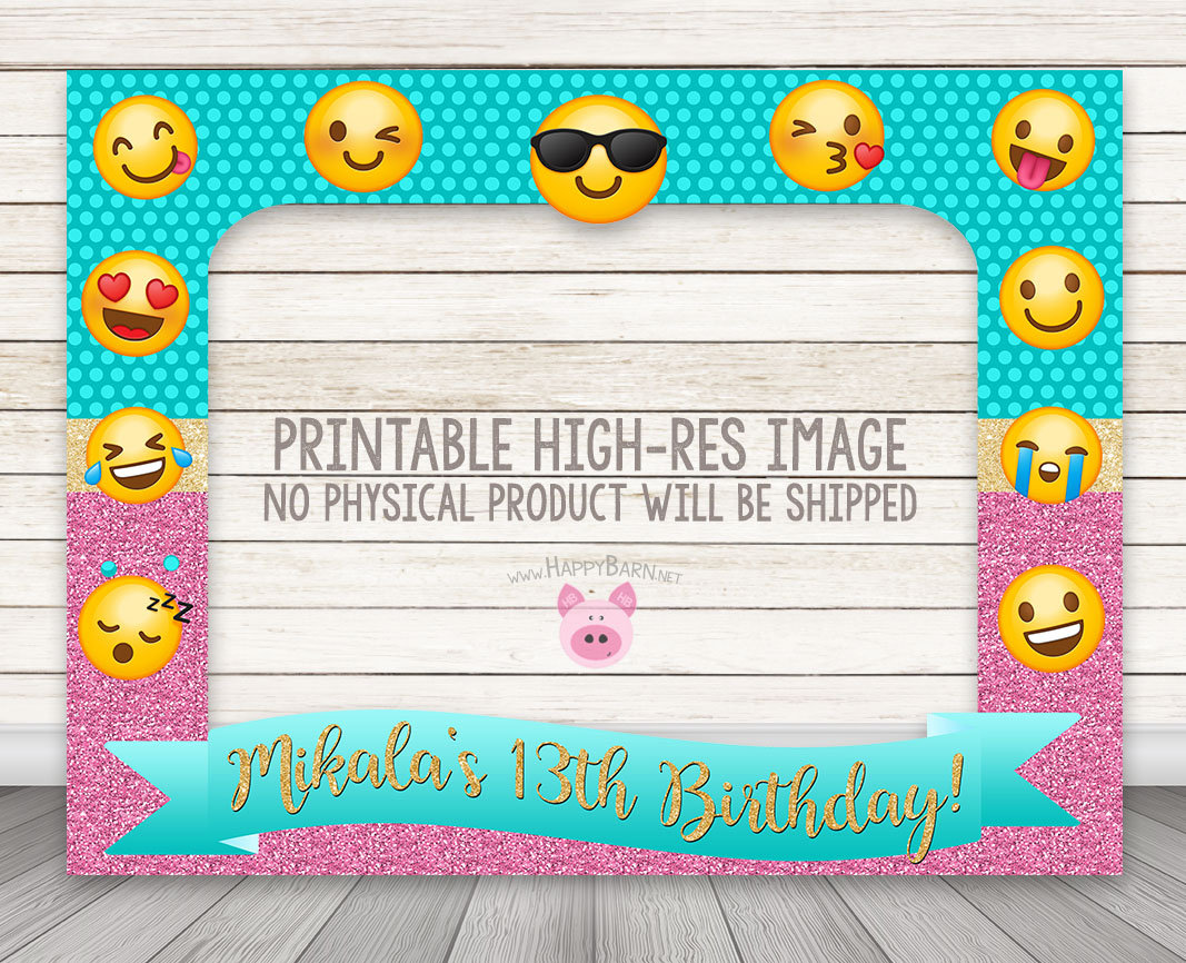 PRINTABLE Emoji Birthday Party Photo Booth Frame Teal Pink Glitter Photobooth