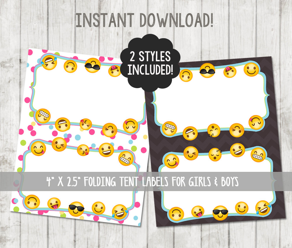 printable emoji food tent labels folding cards happy barn