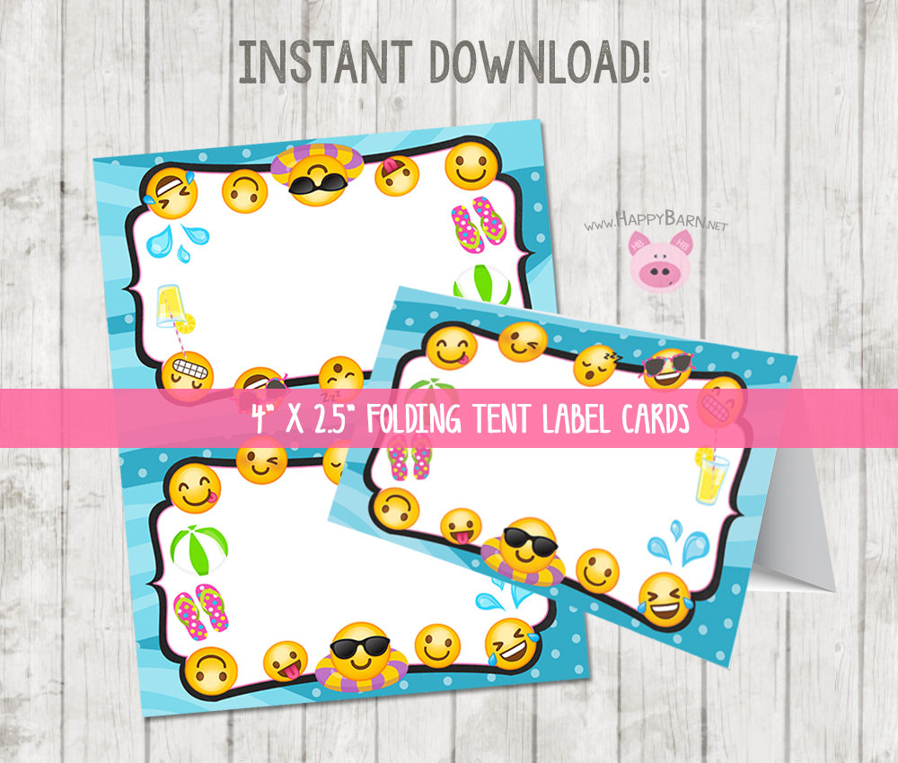 printable emoji pool party food tent label cards happy barn