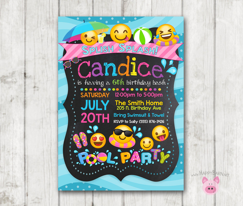 Printable Emoji Pool Party Invitation Swim Invitations