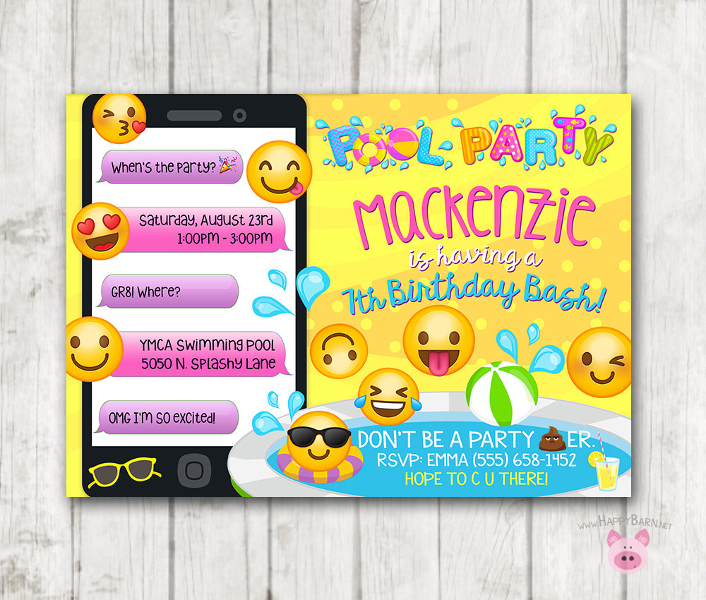 image regarding Printable Emoji Stickers named Printable Emoji Pool Social gathering Bash Invitation