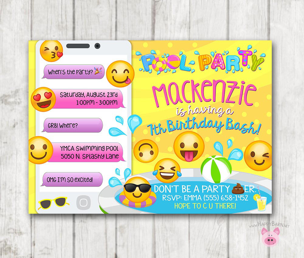 photograph regarding Printable Emoji Invitations identify Printable Emoji Pool Occasion Celebration Invitation