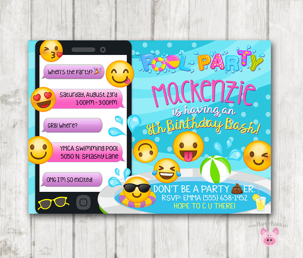 image about Printable Emoji Birthday Invitations identify Printable Emoji Pool Celebration Social gathering Invitation