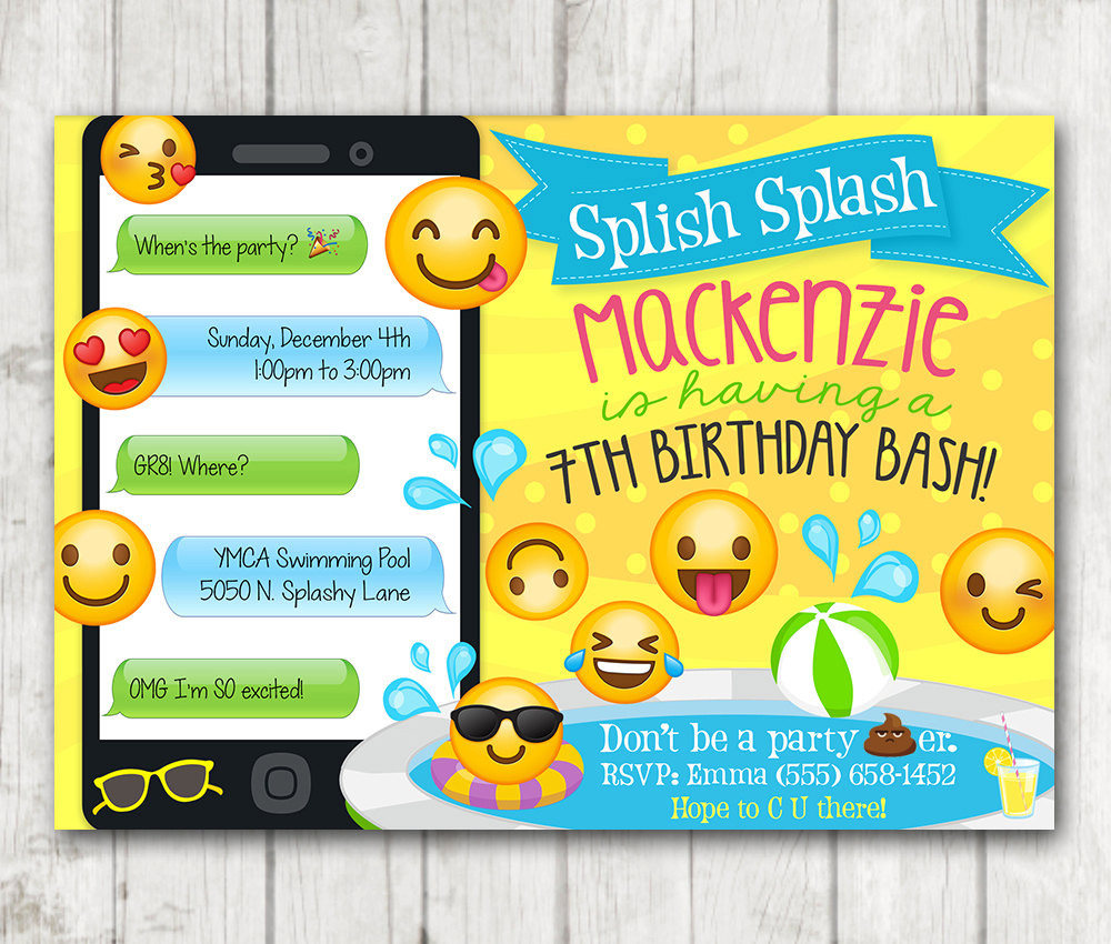 Pool Party Invitations | Printable Emoji Pool Party Party Invitation Happy Barn