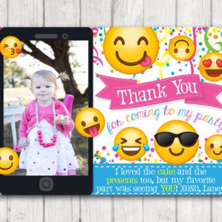 Printable Emoji Thank You Cards With Photo Card Personalized Emoticon Emojional Birthday