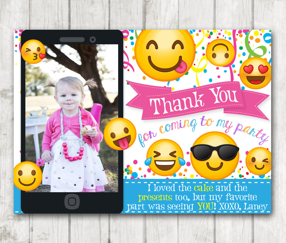 Printable Emoji Thank You Cards With Photo Card Personalized Emoticon Emojional Birthday