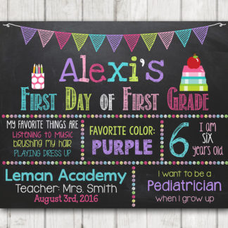 graphic relating to First Day of 3rd Grade Sign Printable named Printable Initial Working day of College Signal