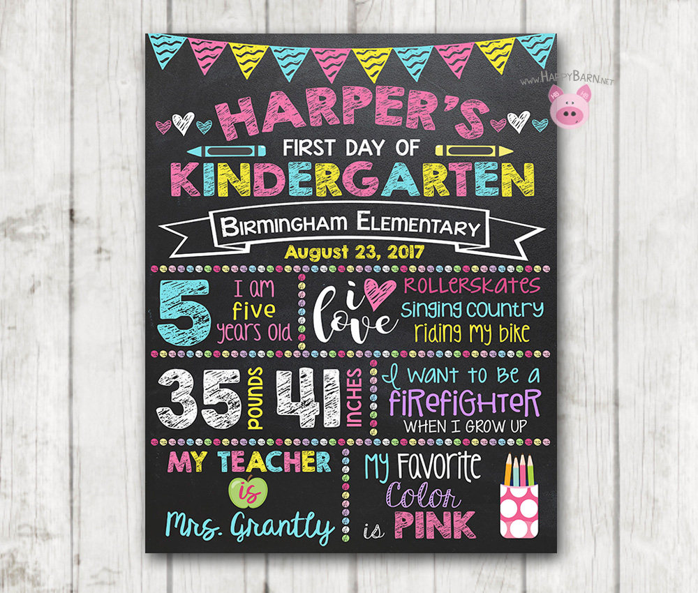 image about First Day of Preschool Printable referred to as Printable Initial Working day of University Indication - Vertical Initial Working day of Preschool Chalkboard Signal