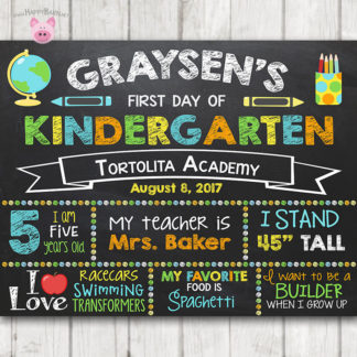 Printable First Day of School Sign, First Day of Preschool Chalkboard Sign