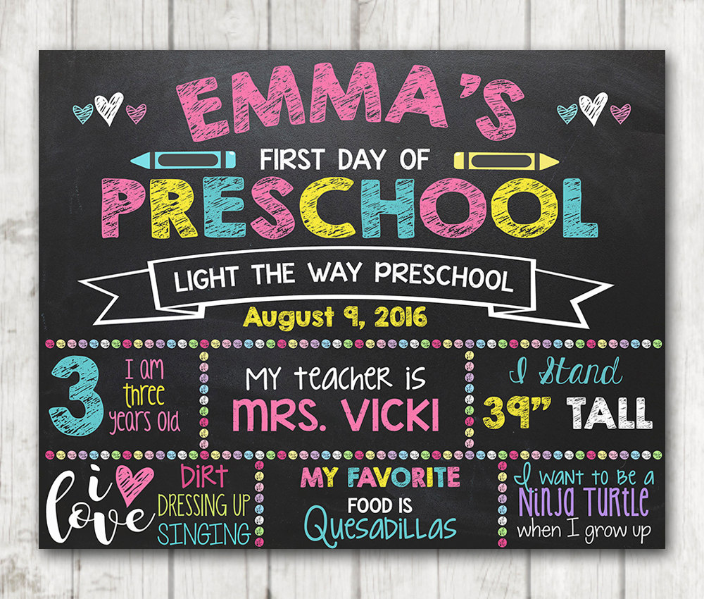 It is a graphic of Wild First Day of Preschool Printable Sign