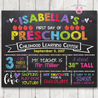 photograph regarding First Day of Preschool Sign Printable identify Printable To start with Working day of University Chalkboard Signal Rainbow