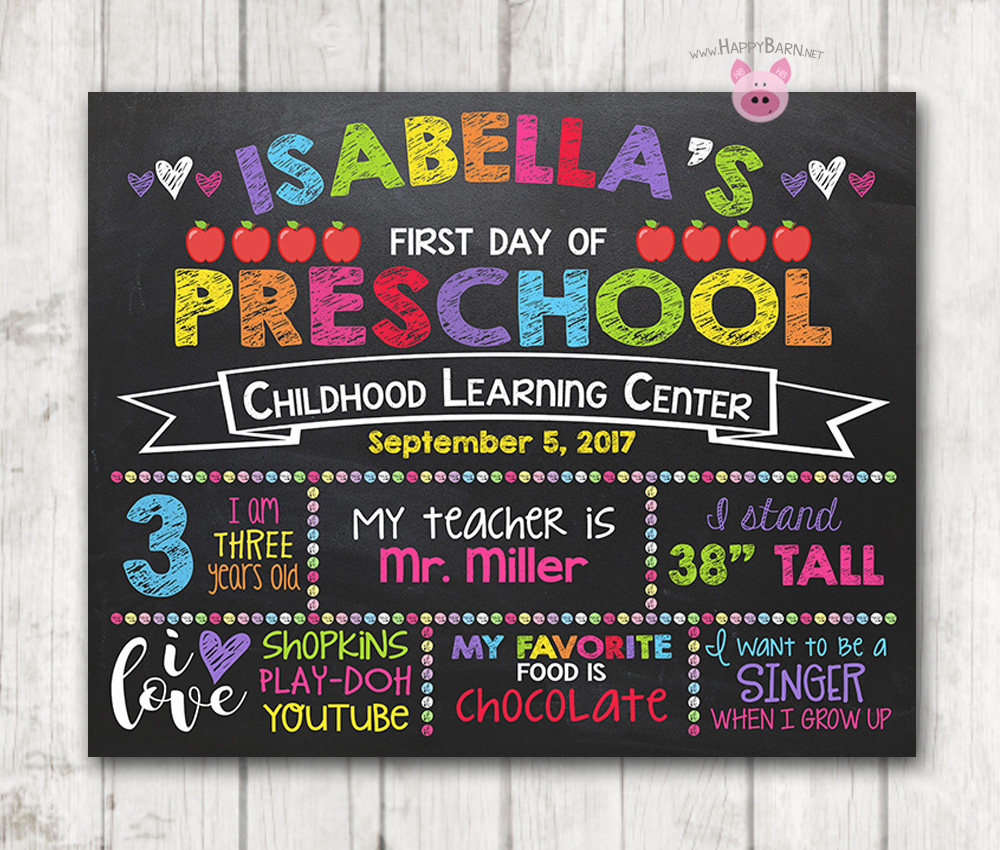 image regarding First Day of Kindergarten Sign Printable known as Printable Initial Working day of Higher education Chalkboard Indication Rainbow