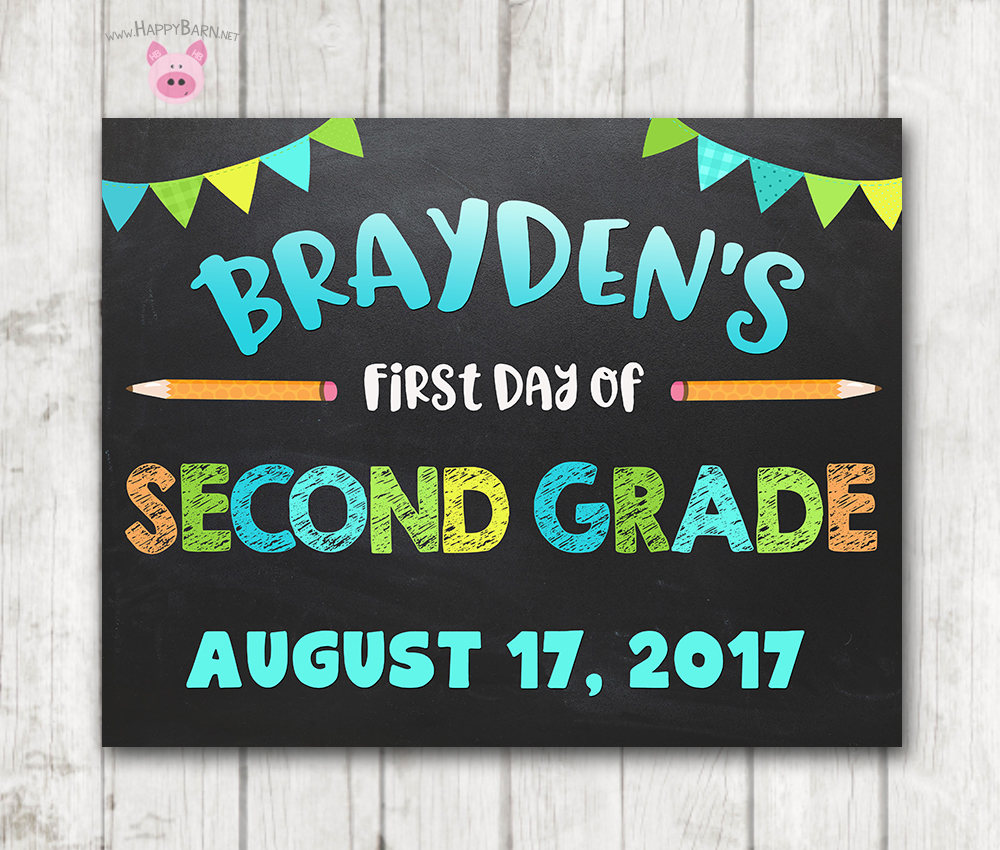 image relating to Printable First Day of Kindergarten Sign titled Printable Initially Working day of Higher education Chalkboard Signal - Boy Blue