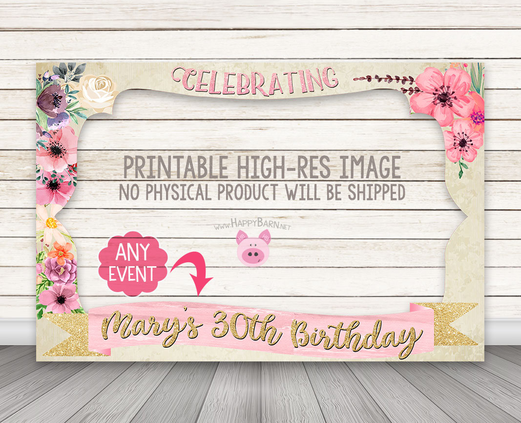 PRINTABLE Floral Photo Booth Frame - Wedding Bridal Shower Photo ...