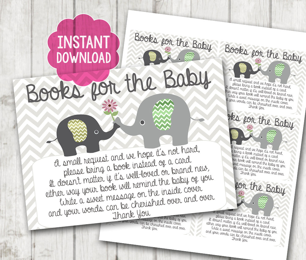 gender neutral printable bring a book instead of a card baby