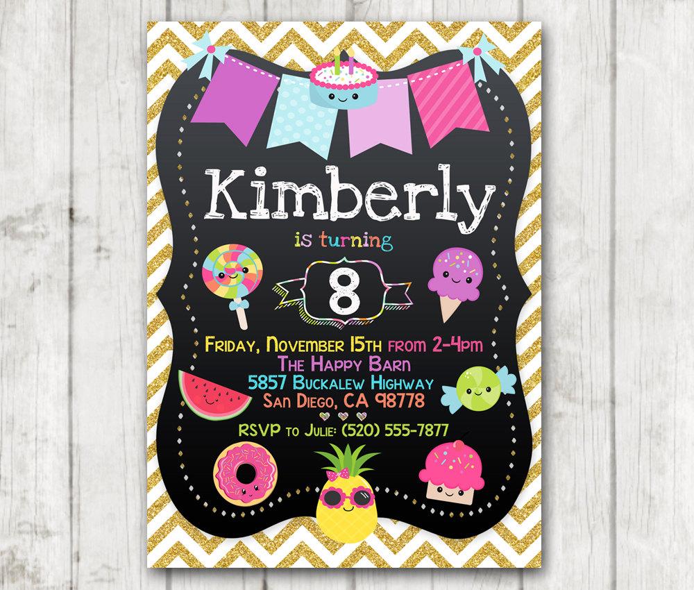 picture regarding Girl Birthday Party Invitations Printable titled Printable Summer season Sweets Sweet Birthday Celebration Invitation