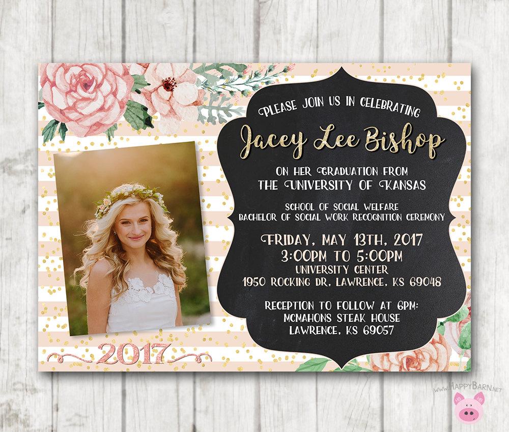 Printable Graduation Invitations Floral Graduation Invites Happy Barn