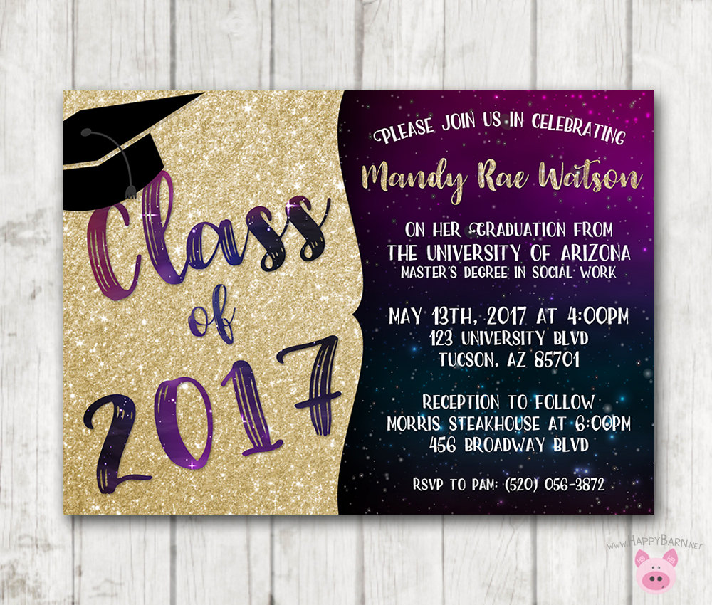 Printable Graduation Invitations Galaxy Invites