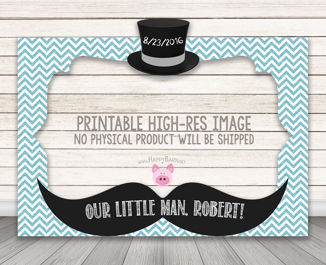 Printable Little Man Baby Shower Or Birthday Party Photo Booth Frame