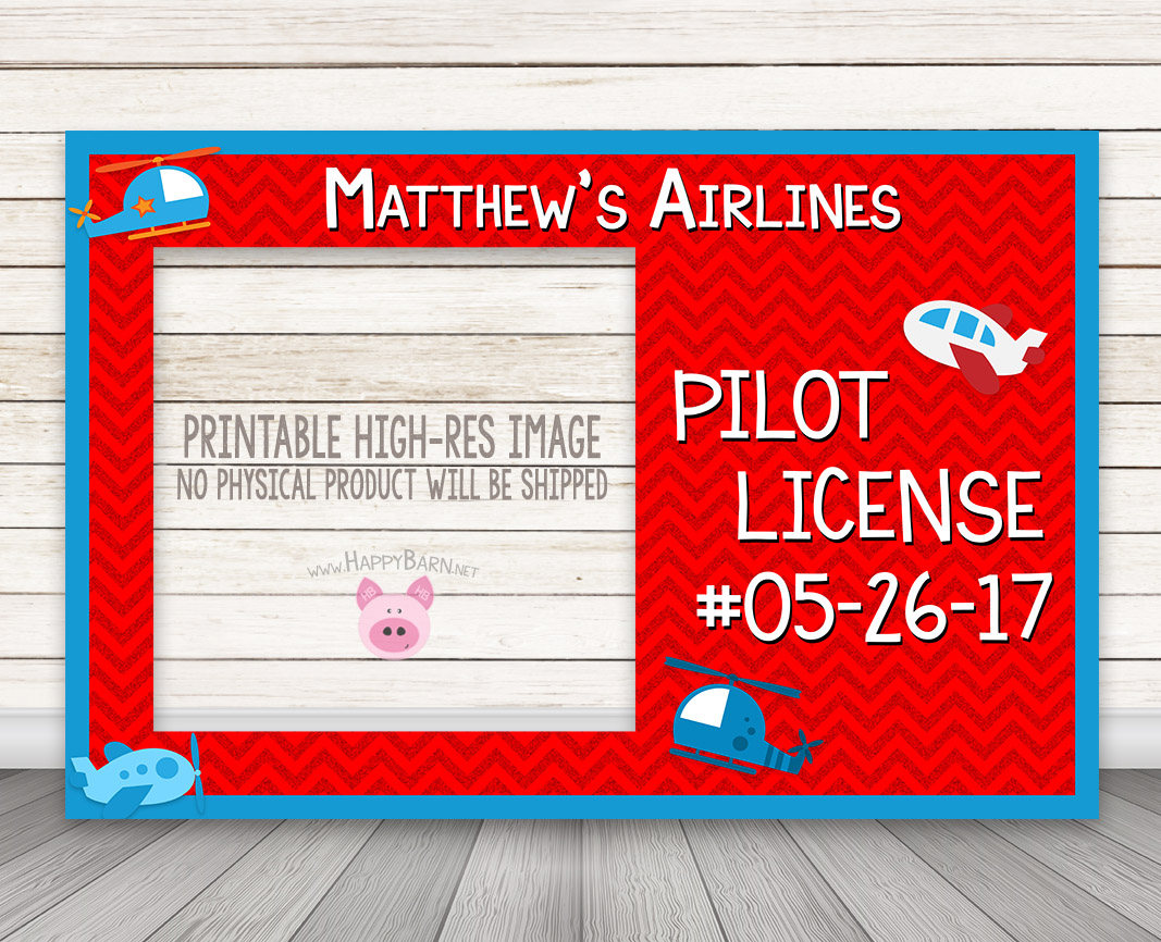 photo about Printable License identify PRINTABLE Airline Pilots License Picture Booth Body