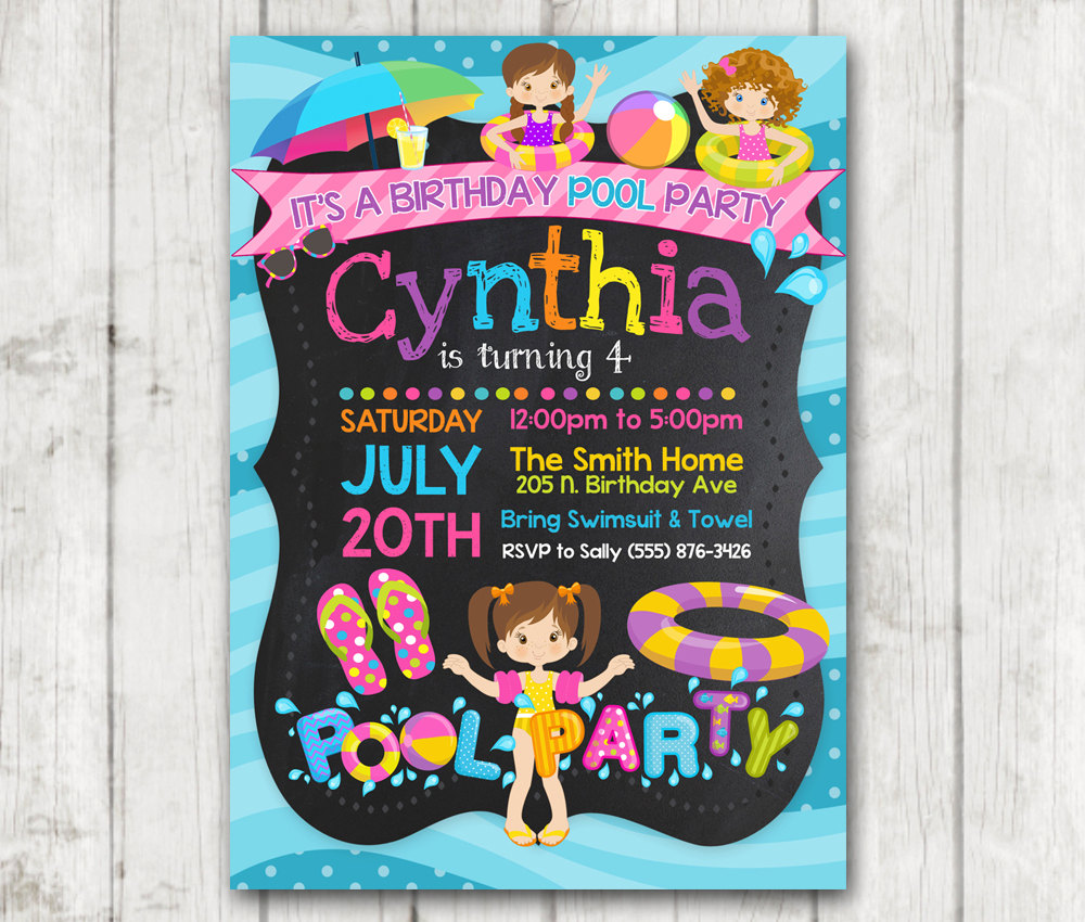 printable pool party birthday invitations girls pool party